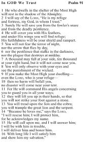 Psalm 91 Cards The Father S Business